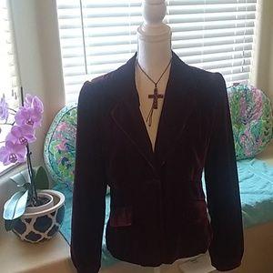 Burgundy wine colored velvet jacket